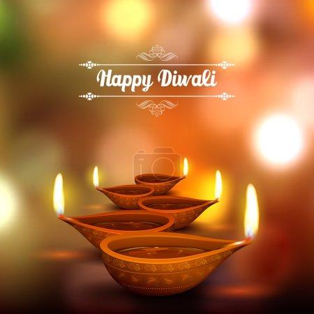 Illustration of burning diya on Diwali Holiday bac...