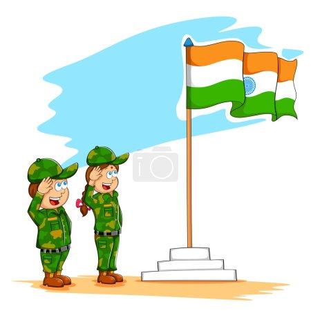 Kids saluting Indian flag