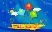 Makar Sankranti tapeta s barevný drak