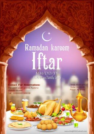 Illustration pour Illustration de délicieux plats pour la fête de l'iftar - image libre de droit