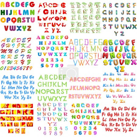 Illustration pour Illustration de l'ensemble de collection d'alphabets anglais collection jumbo dans un style différent - image libre de droit