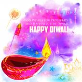 Happy Diwali background coloful with watercolor diya