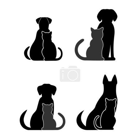 Illustration pour Silhouettes d'animaux de compagnie, chien chat - image libre de droit