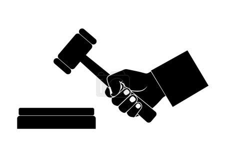 Illustration pour Silhouette de la main avec un marteau - image libre de droit