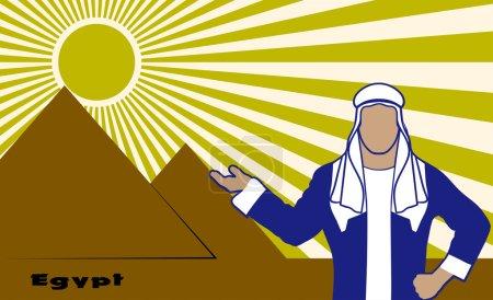 Ilustración de Árabes en el fondo de las pirámides egipcias - Imagen libre de derechos