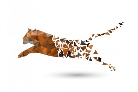 Leaping tiger from polygons...
