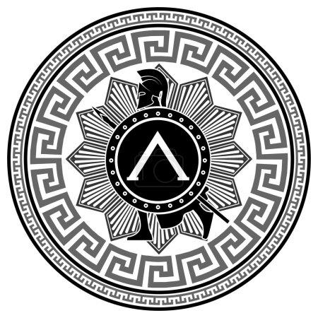 Illustration pour Sur l'image est présentée Étiquette avec le motif grec. silhouette du soldat spartiate - image libre de droit