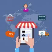 Ikona online obchod. prodej Internetu. ploché styl