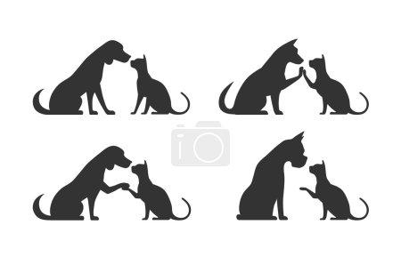 Illustration pour Sur l'image est présenté des silhouettes d'animaux de compagnie, chien chat - image libre de droit