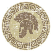 worn warrior icon in grunge style
