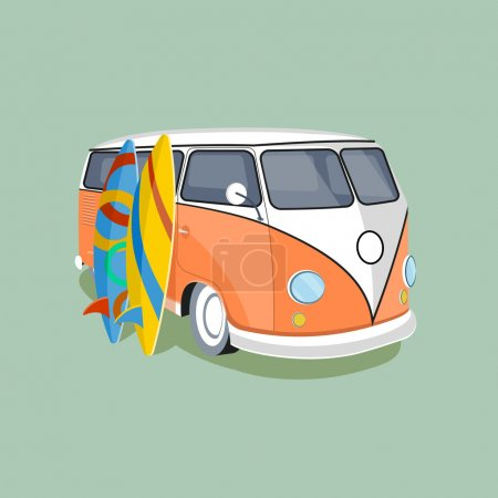Illustration for On the image is presented old car and surfing, sport board, vector illustration. - Royalty Free Image