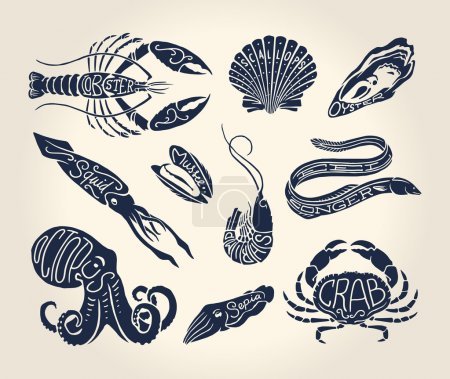 Illustration for Vintage illustration of crustaceans, seashells and cephalopods over white background with names - Royalty Free Image