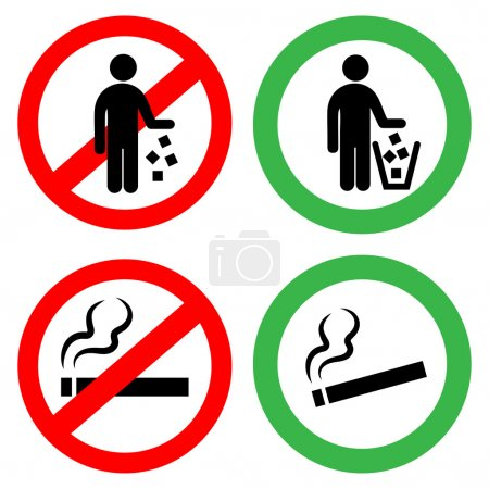 Prohibitory signs. Do not litter, do not smoke.