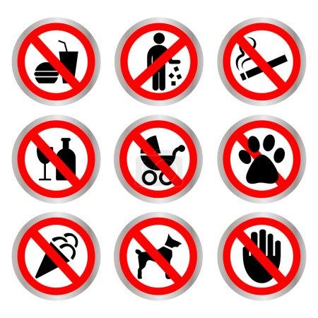 Signes prohibitives. Ne fumez pas, n'est pas abandonné, ne buvez pas, ne mangent pas, ne peut pas être avec une poussette, un chien peut, ne pas être laissé seul