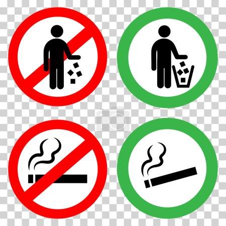 Illustration pour Signes interdits. Ne pas jeter, ne pas fumer . - image libre de droit