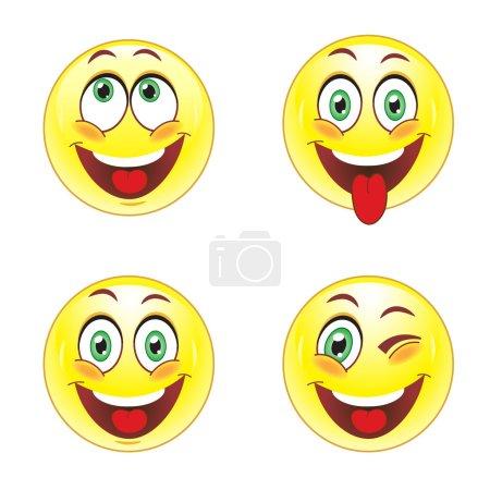 Illustration for Set smiley faces on white background - Royalty Free Image