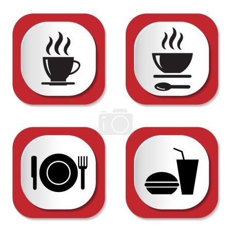 Photo pour Icônes de nourriture et boissons, illustration vectorielle - image libre de droit