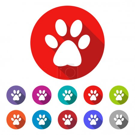 cat paw print vector icon - colored(gray, blue, orange, green, red) round buttons with long shadow