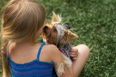 Girl 6 years old one grass playing with Yorkshire Terrier