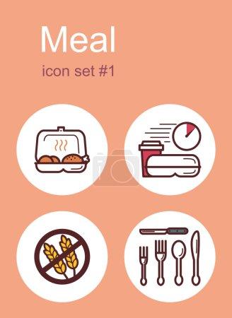 Photo pour Menu de repas aliments et boissons icônes. Ensemble d'illustrations vectorielles modifiables en couleur . - image libre de droit