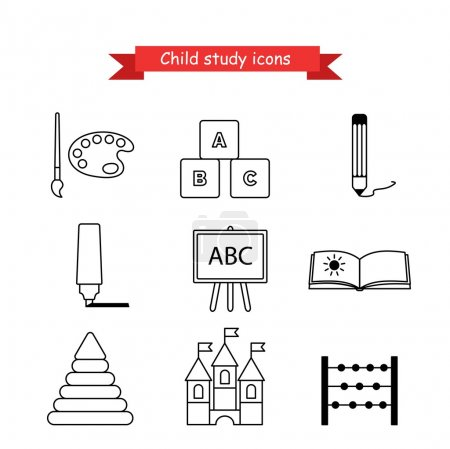 Set of vector icons kids education
