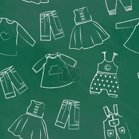 Seamless pattern green chalk board with cute dresses for the little girl. Collection of clothing in a linear style for the child. Hand-drawn style. Seamless vector wallpaper