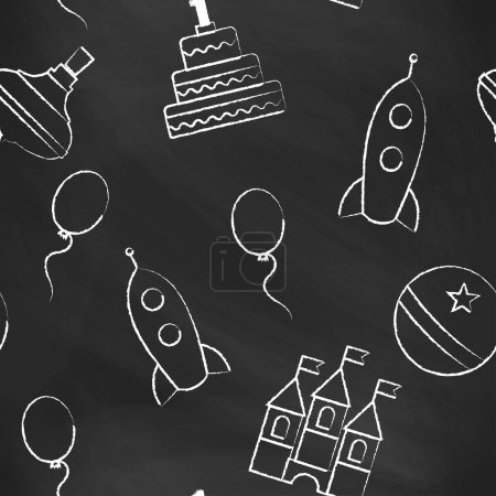 Seamless pattern black chalk board with white childrens chalk drawings. Hand-drawn style. Seamless vector wallpaper with the image of balloon, rocket, ball, castle, cake