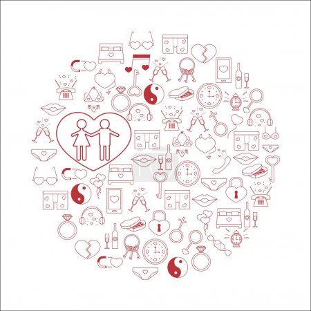Vector illustration with different Valentines Day elements.Vector line icons. idea illustration for design t-shirts, banners, flyers and other types of polygraphy products