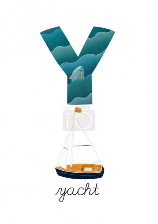 Photo for Letter Y is for Yacht. These ABC illustrations with associated picture are perfect for postcards and interior decoration. - Royalty Free Image
