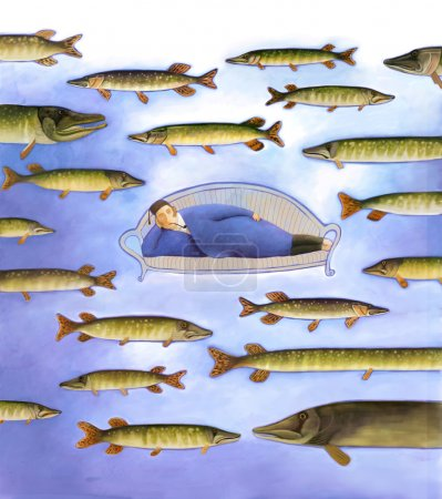Photo pour Illustration de la métaphore russe de la paresse - un homme allongé sur le canapé et beaucoup de piques nageant autour . - image libre de droit