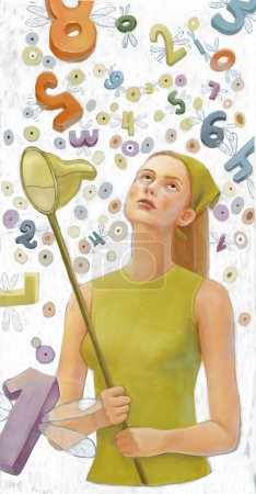 Numerology, girl with buterfly net