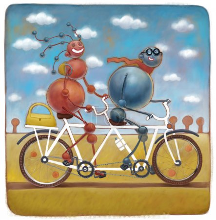 Two molecules on tandem bicycle
