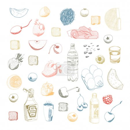 Hand drawn vectorial food set