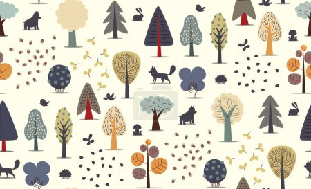 Forest trees seamless pattern