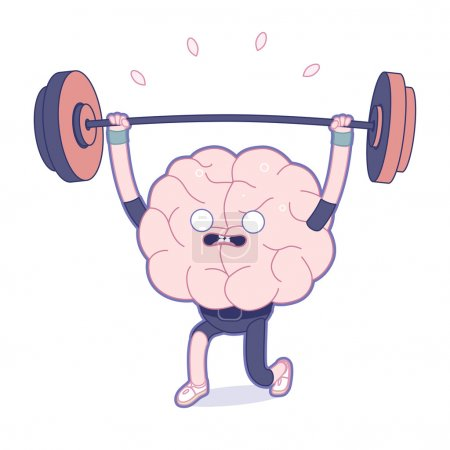 Illustration for Train your brain series - the flat outlined vector illustration of training brain activity, weightlifting. Part of a Brain collection. - Royalty Free Image