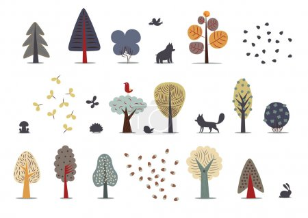 Illustration for The vector illustration of flat forest elements - various trees, wild animals and seeds - Royalty Free Image