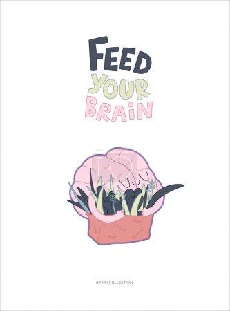 Illustration pour Nourrissez votre affiche du cerveau une illustration vectorielle esquissée d'enlacer le cerveau d'un sac de légumes verts avec des lettres. Partie d'une collection Cerveau . - image libre de droit