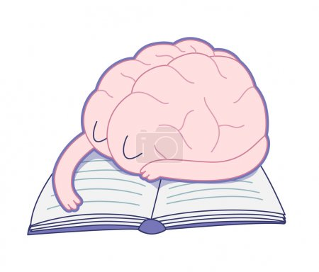 Illustration for A tired brain sleeping on the book flat cartoon vector illustration. A part of the Brain collection. - Royalty Free Image