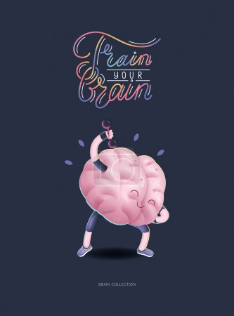 Train your brain poster with lettering, dumbbells exercises