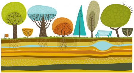 Illustration for The vector illustration of park trees set. - Royalty Free Image