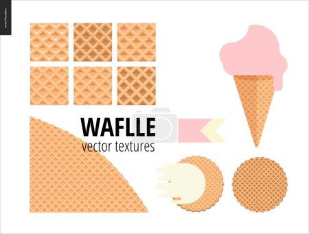 Vector illustration of six seamless waffle patterns