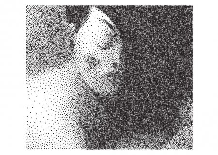 Looking down young woman halftone portrait