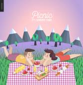 Young couple on picnic template with lilac sky