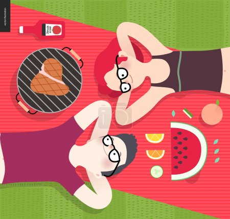 Illustration for Young couple on picnic, top view,vegetarian vs meat eater - flat cartoon vector illustration of woman and man laying down on red plaid on green grass, with vegetarian and meat meal - Royalty Free Image
