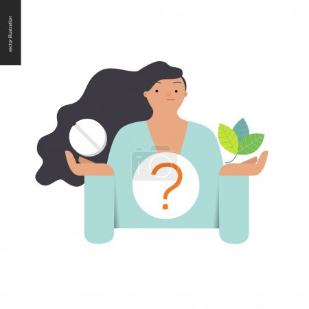 Illustration for Choosing between an antibiotic pill and natural herbal treatment. Flat vector cartoon illustration of a woman holding a tablet in one hand and plant leaves in another, with a question sign above. - Royalty Free Image