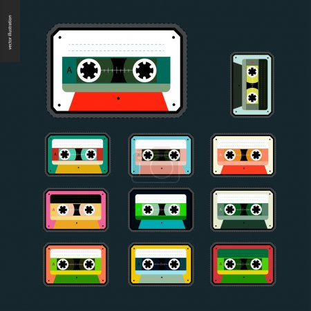 Cassette tapes patches flat set