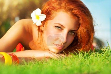 Pretty woman on spa resort