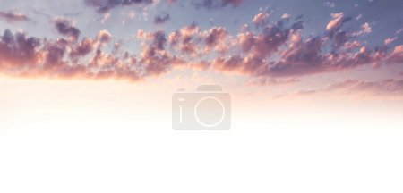 Photo for Beautiful sky background, pink cloudscape as abstract natural background with copy space, cumulonimbus clouds in sunset light - Royalty Free Image