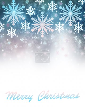 Photo for Merry Christmas greeting card, abstract festive border, beautiful snowflakes illustration on blue background with text space - Royalty Free Image