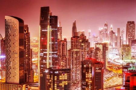 Beautiful background of Dubai at night